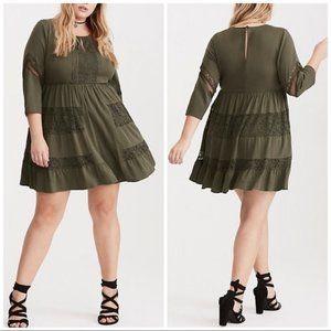 TORRID Lace Inset Challis Dress 0 L 12 Olive NEW